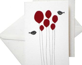 Postcard with two birds and 6 balls in red felt * paper cut and pasted * handmade