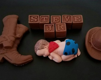 Fondant baby cowboy personalized cake topper for baby shower, birthday