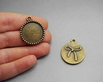 LOT 4 medium pendant bronze knot (W06) 18mm cabochon