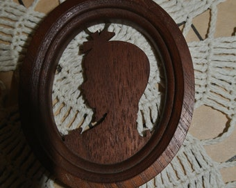 Sweet Little Wood Cameo Silhouette Vintage Cameo
