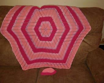 Hexagon baby blanket with cap