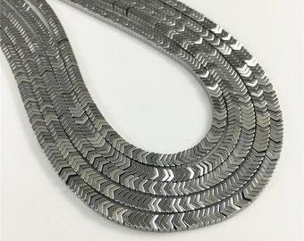 3mm*2mm Hematite Beads Chevron Arrow Shaped,Silver Plated Hematite Beads