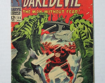 Rare vintage 1967 Daredevil the Man Without Fear issue 28 silver age comic book by Marvel Comics with art by Gene Colan: 1960's Marvelmania