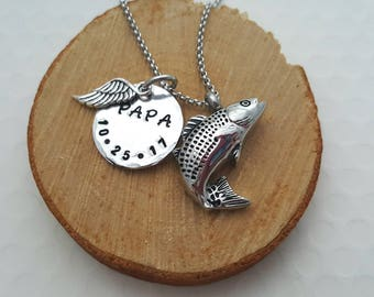Fish cremation urn necklace, cremation jewelry, memorial necklace, loss of dad, remembrance, fish urn pendant, jewelry urn