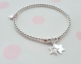 Sterling Silver Bead Bracelet/Star Bracelet/Stacking Bracelet/Tiny Star Bracelet/Stretch Bracelet/Sterling Silver/Star Jewellery/Star