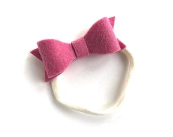 Pink baby headband - nylon headband, baby girl headband, baby headband bows, baby headbands, newborn headband, baby bows, baby girl, bows