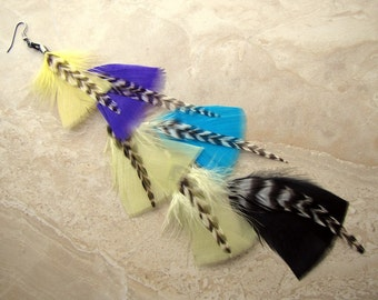 50% OFF Colorful Feather Earring - Long Single Feather Earring, Aztec Print Inspired - Tribal Rainbow (Ready to Ship)