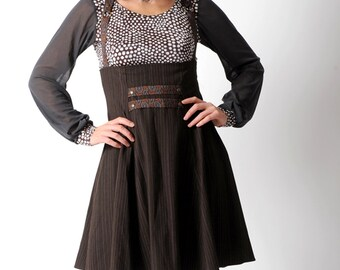 Brown suspender skirt, Brown high waisted skirt with suspenders, Dark brown steampunk skirt, sz Uk 10, MALAM