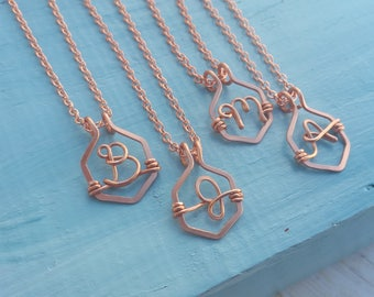 Geometric Monogram Necklace in Solid Copper