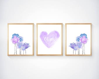 Lavender and Blue Prints, 8x10-Set of 3, Lavender Flower Prints, Lavender Wall Decor, Lavender Nursery Decor, Purple and Blue Baby Room