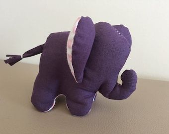 Cuddly little elephant bi color purple and pink