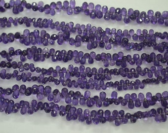 AAA Quality Amethyst Tear Drop Faceted 3x5 to 5x7 mm approx. 8 inch strand