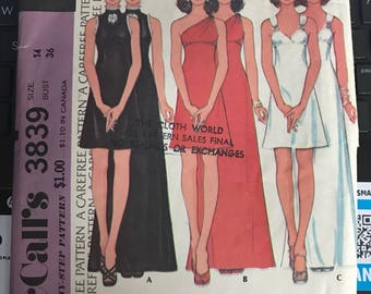 Vintage 70s McCall's 3839 Dress Pattern-Size 14 (36-28-38)