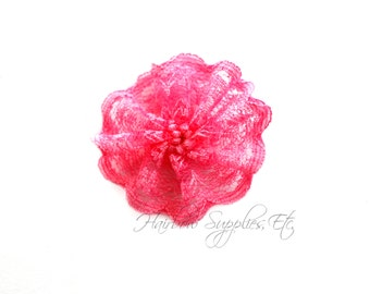 Pink Lace Twirl Flowers 1-1/2 inches - Fabric Flowers, Lace Flowers, Hair Flowers, Wedding Flowers, Flowers for Headbands, Headband Flowers