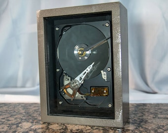 Bronze handmade frame Clock made from a computer Hard drive. Gift for anyone who works on computers. Techie/Display/Desktop/Mantel/Steampunk
