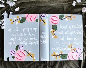 Custom Hand Painted Journaling Bible | Floral