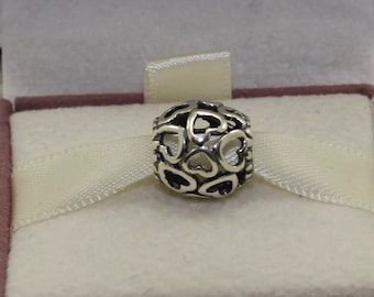 Authentic Silver Openwork Heart Charm