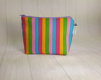 Narrow Ice Cream Parlor Stripes Zipper Notions Pouch, Mini Zippered Wedge Bag, Craft Pouch NP0042