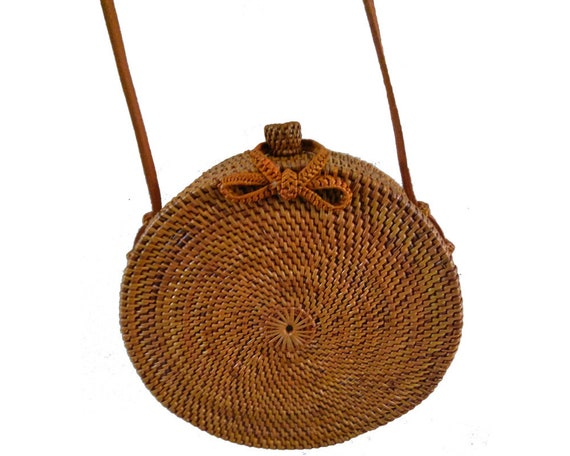 Rattan Bags For Women With Medium Circle Leather Strapping Round Butterfly Buckle by Etsy