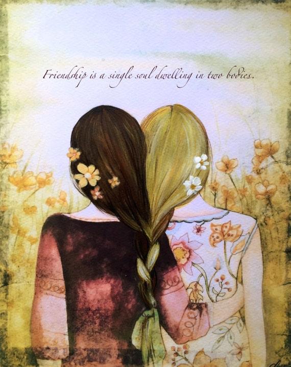 Two blonde and brown hair  braided  sisters best friends art print