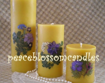 Beeswax  Candle Pillar Natural Color Decorated with Dried Flowers 6 inches tall