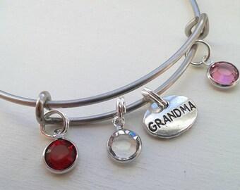 Grandma Bracelet With Swarovski Birthstones on Stainless Steel Bangle - Nanny - Personalized - Custom - Grandma Gift  - Jewelry Mother's Day