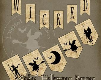 Halloween Banner Garland Wicked Printable Instant Download