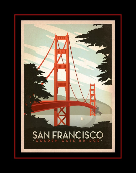 Vintage San Francisco Poster Retro Illustration Wall Art