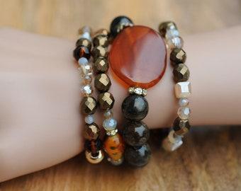 Semi Precious Bracelet, Stretch Bracelets, set of 4 bracelets, Gift for her, Birthday Gift, Everyday use, Aventurine bracelet