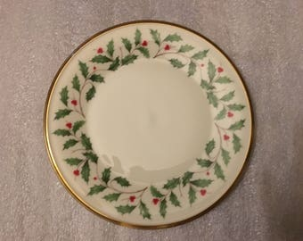 "1970s Lenox Holiday Dimension 8-1/8"" Salad or Dessert Plate"