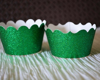 Glitter Cupcake Wrappers - Emerald Green - Wedding, Graduation Party, Baby Shower, Birthday, Choose the cut - scallop or fancy