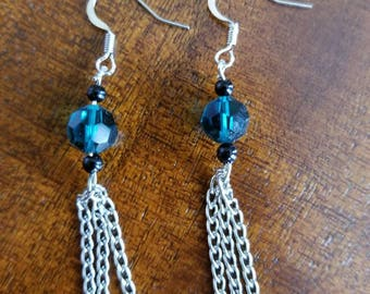 Chain and Blue Dangle Earrings