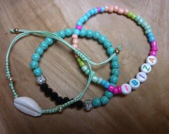 Ibiza summer beaded bracelets set of turquoise beads, buddha beads shell