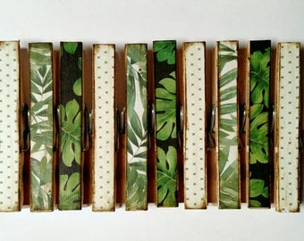 Botanical Fern Garden Clothespins set of 10 Decoupage Clothespins
