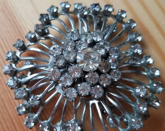 SALE Vintage Brooch Pin Silver Tone Clear Rhinestones Faceted 1950s