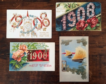 3 Antique New Year's Eve Postcards