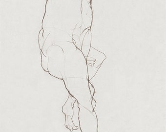 Nude Sketch 1 (print) - original life drawing by pencil, nude man, abstract, reclining nude