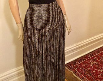 Black and white pinstripes maxi skirt by Carole Little