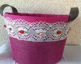 Fuchsia pink decorated basket