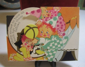 Adorable unused P.F. Volland 1920's die cut gold gilded children's party invitation children and dog dressed as colorful clowns