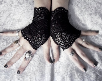 Gessekai Lace Fingerless Glove Mittens   Black Floral Fishnet   Gothic Vampire Lolita Wedding Fetish Belly Dance Goth Bohemian Bridal Deco