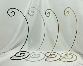 Medium Spiral Base Ornament Stand in Silver, Black, Antique Gold or Shiny Brass