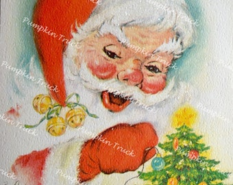 Vintage Christmas Card - Glitter Santa And Small Tree - Used Eve Rockwell