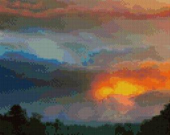 Willamette River Oregon sunset landscape Cross Stitch pattern PDF - Instant Download!