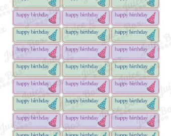 Set of 39 Happy Birthday Stickers for Various Planners, Calendars, and Journals