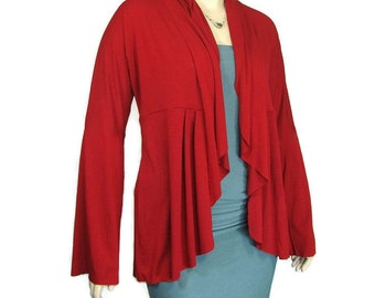 Plus Size Cardigan/Jacket- Eco Friendly,Hand Dyed Organic Cotton/Bamboo Jersey-Womens Made to Order-Choice of Color-XL,2X,3X,4X,5X,6X,7X,8X+