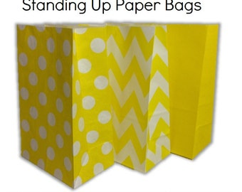 Set of 12, 24 Yellow-Chevron, Polka Dots, Plain (Solid)Paper Bag Flat Bottom Bags, Gift Bags, Party, Lolly,Favour, Wedding, Packaging, Loot