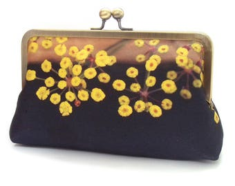 Yellow flowers, clutch bag, silk purse, clutch, yellow & black pods