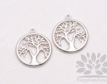 P606-MR// Matt Rhodium Plated Round Tree Pendant, 2pcs