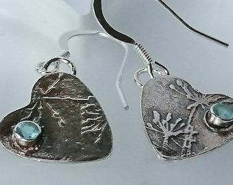 Sterling silver handmade oxidised embossed heart earrings with 3m Apatite gemstones, hallmarked in Edinburgh